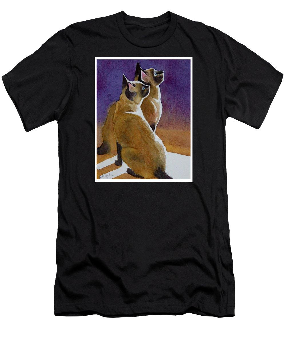 Siamese Cats Men's T-Shirt (Athletic Fit) featuring the painting Best Friends by Rachel Armington