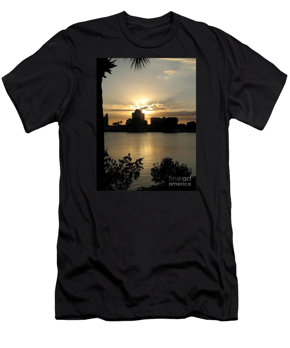 Sunset Men's T-Shirt (Athletic Fit) featuring the photograph Between Day And Night by Christiane Schulze Art And Photography
