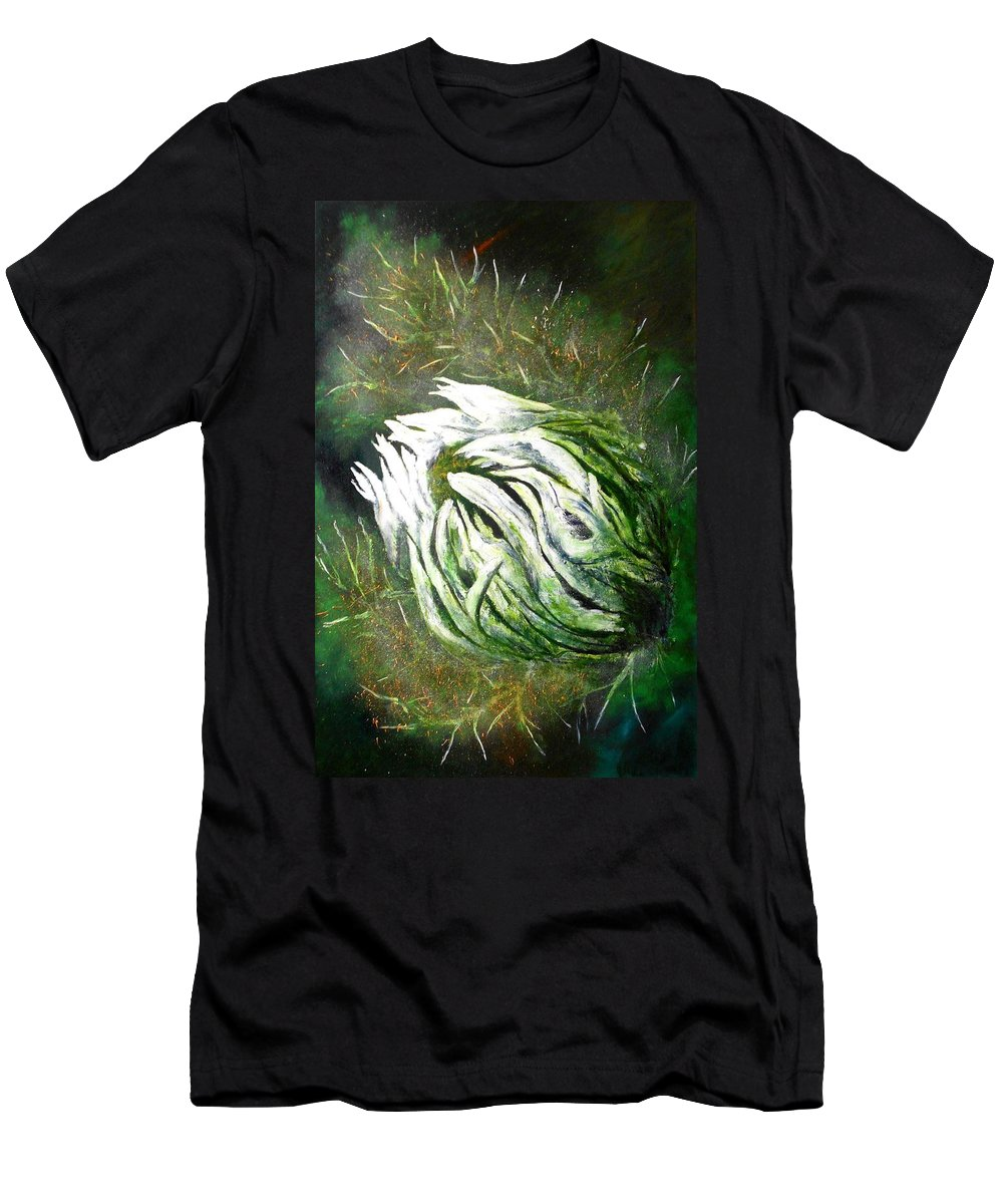 Flower Men's T-Shirt (Athletic Fit) featuring the painting Beware Of The Thorns by Maris Sherwood
