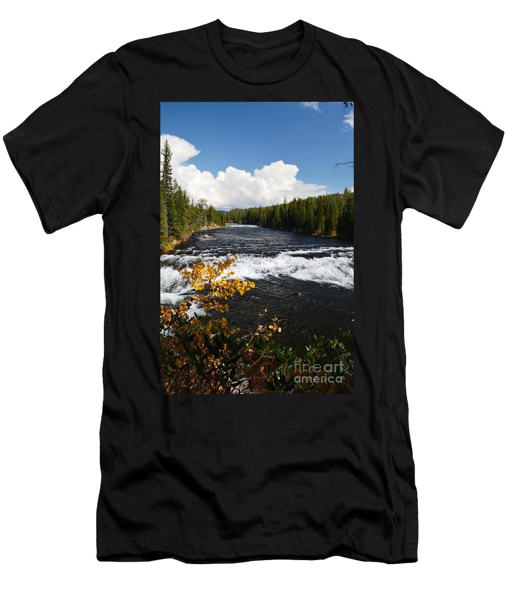 Waterfalls Men's T-Shirt (Athletic Fit) featuring the photograph Beyond The Falls by Deanna Cagle