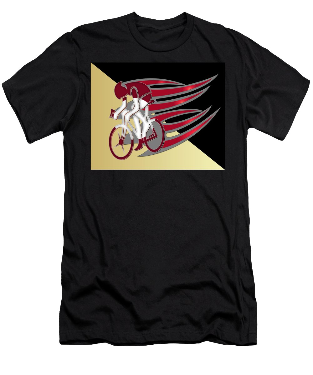 Bicycle Rider Men's T-Shirt (Athletic Fit) featuring the digital art Bicycle Rider 01 by Carlos Diaz