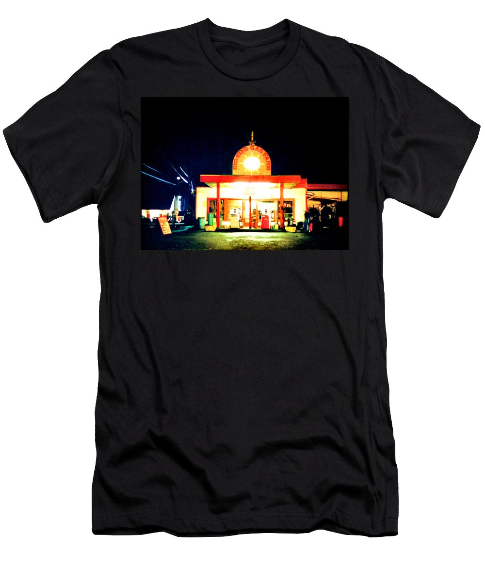 Laura Palmer Men's T-Shirt (Athletic Fit) featuring the painting Big Ed's Gas Farm by Luis Ludzska