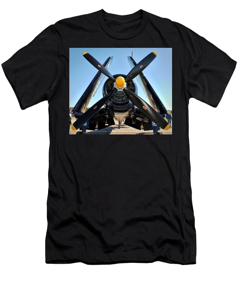 F4u Men's T-Shirt (Athletic Fit) featuring the photograph Big Prop by David Hart
