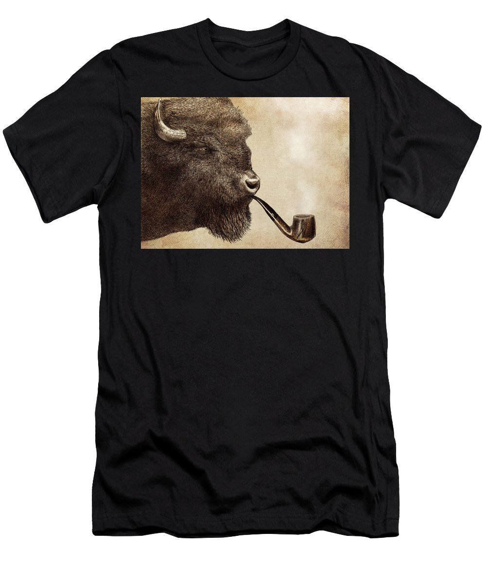Buffalo Men's T-Shirt (Athletic Fit) featuring the drawing Big Smoke by Eric Fan