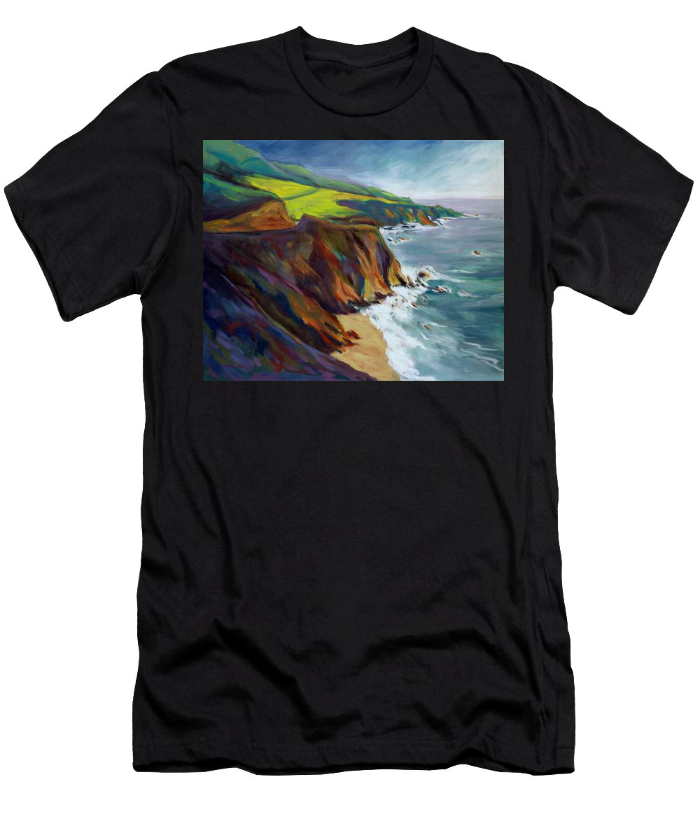 Big Men's T-Shirt (Athletic Fit) featuring the painting Big Sur 1 by Konnie Kim
