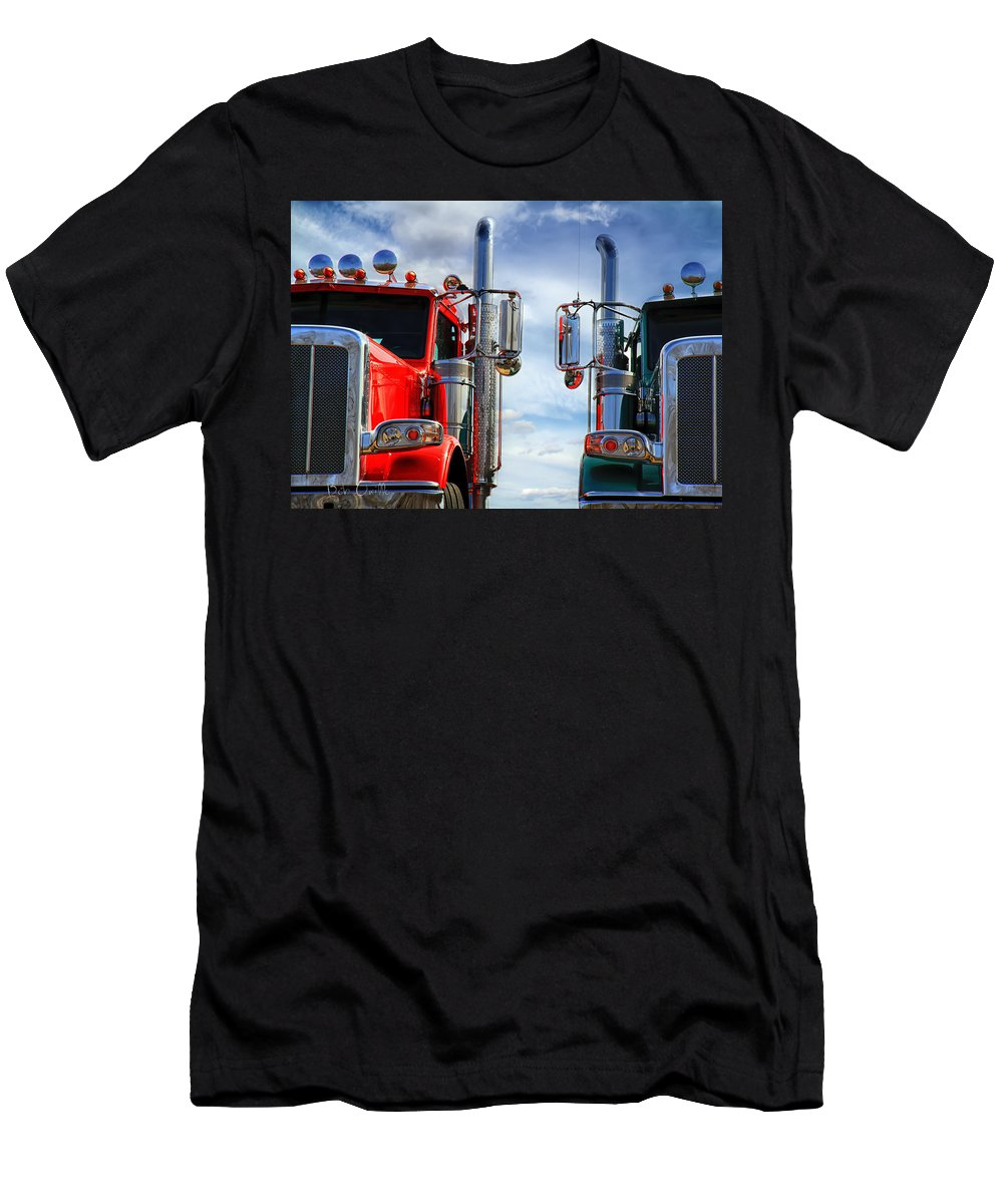Transportation Men's T-Shirt (Athletic Fit) featuring the photograph Big Trucks by Bob Orsillo