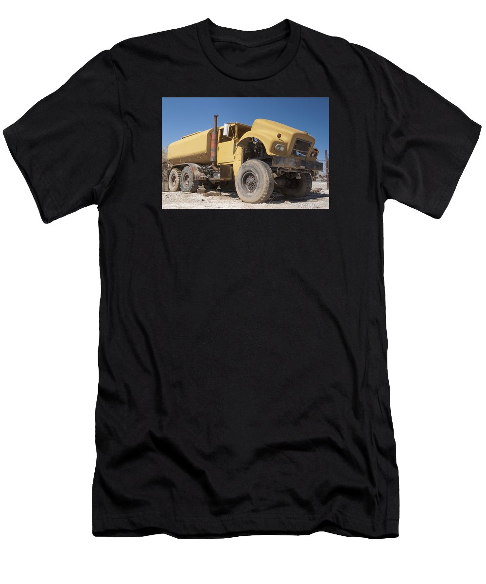 Old Truck Men's T-Shirt (Athletic Fit) featuring the photograph Big Wheels Not Rollin Water Truck by Scott Campbell
