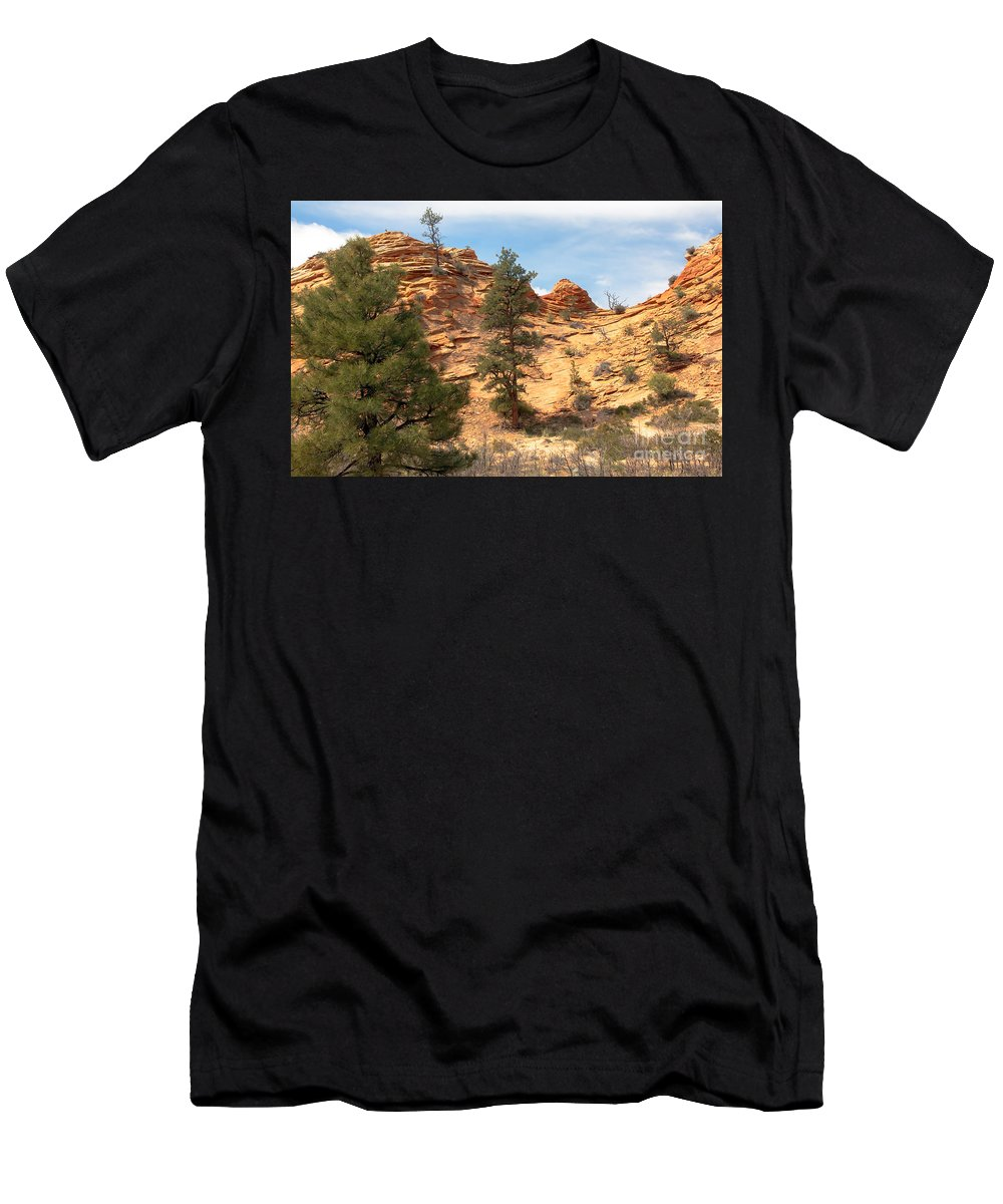 Bighorn Sheep Men's T-Shirt (Athletic Fit) featuring the photograph Bighorn Sheep On A Ridge by Robert Bales