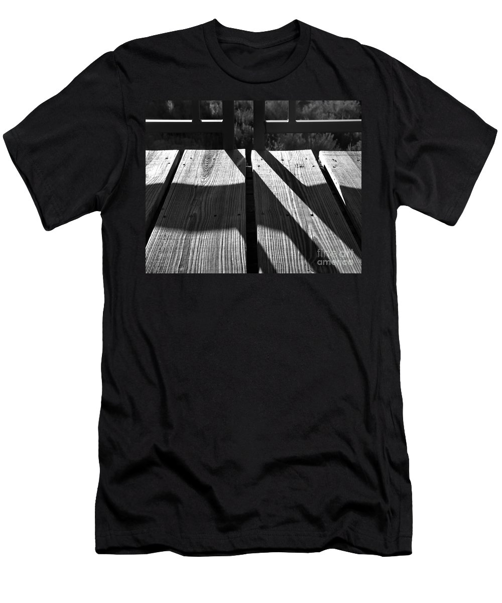 Digital Black And White Photo Men's T-Shirt (Athletic Fit) featuring the digital art Bike Trail Bridge Bw by Tim Richards