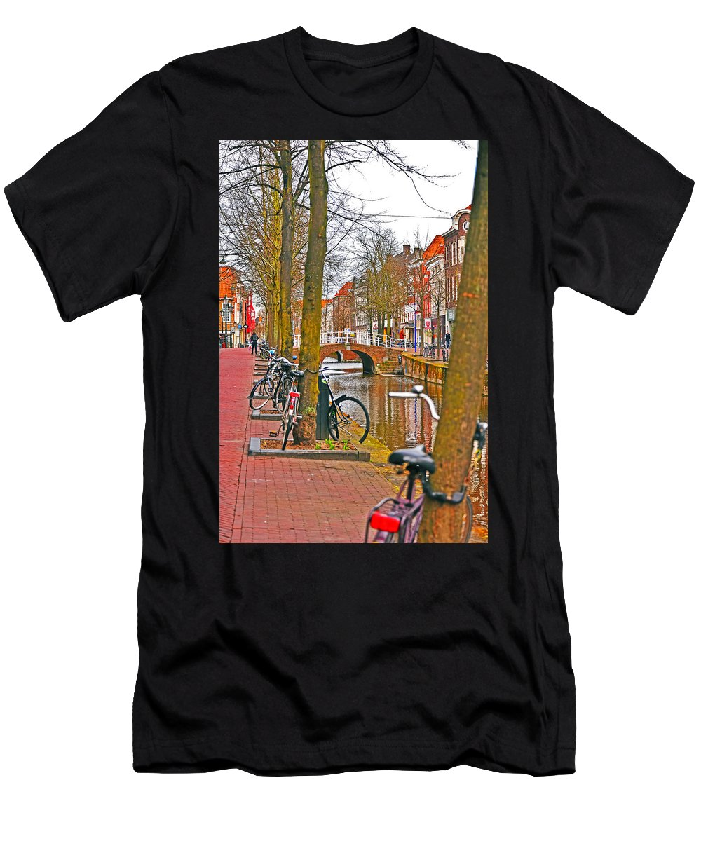 Travel Men's T-Shirt (Athletic Fit) featuring the photograph Bikes And Canals by Elvis Vaughn