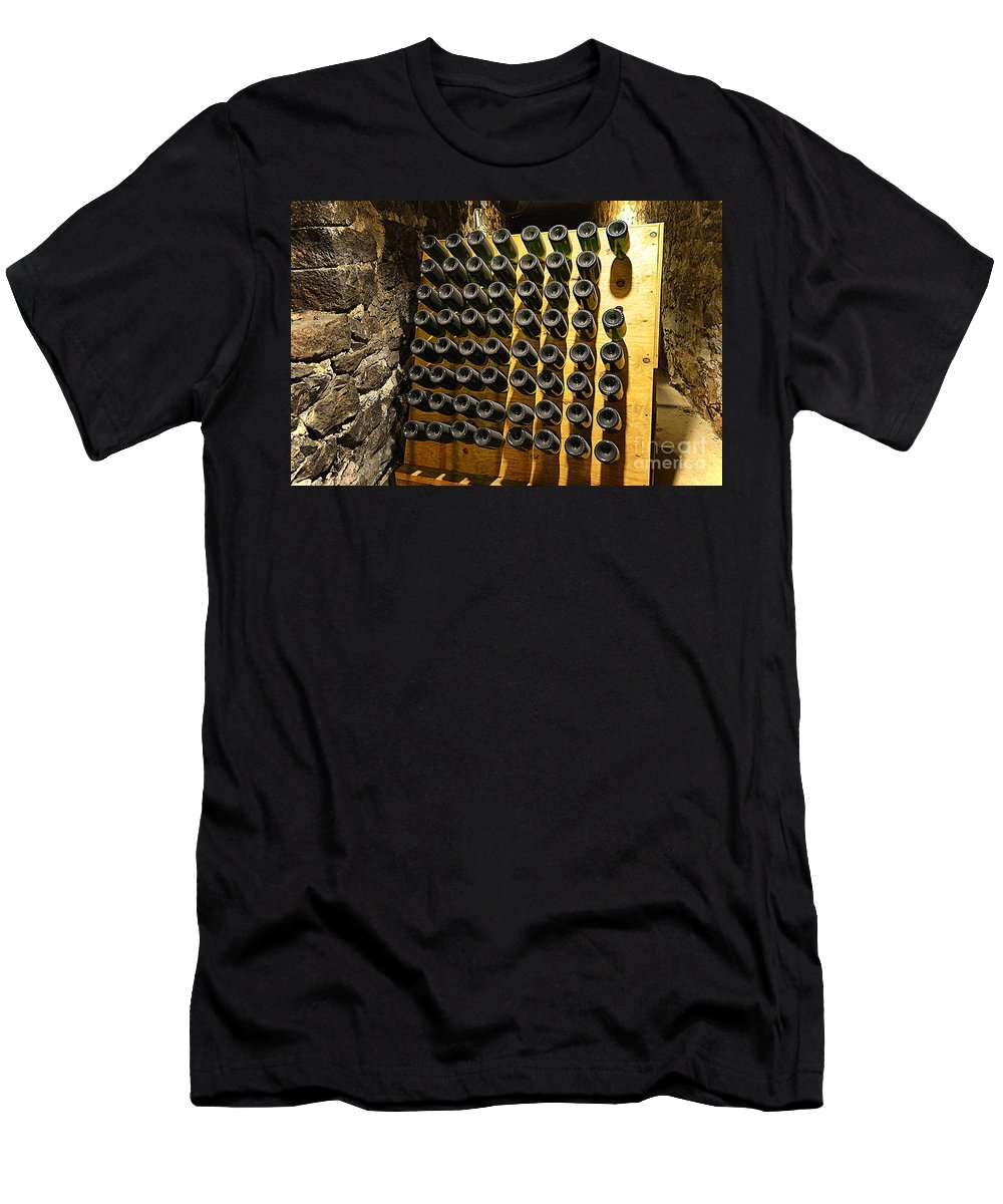 Biltmore Estate Wine Cellar - Stored Wine Bottles Men's T-Shirt (Athletic Fit) featuring the photograph Biltmore Estate Wine Cellar -stored Wine Bottles by Luther Fine Art