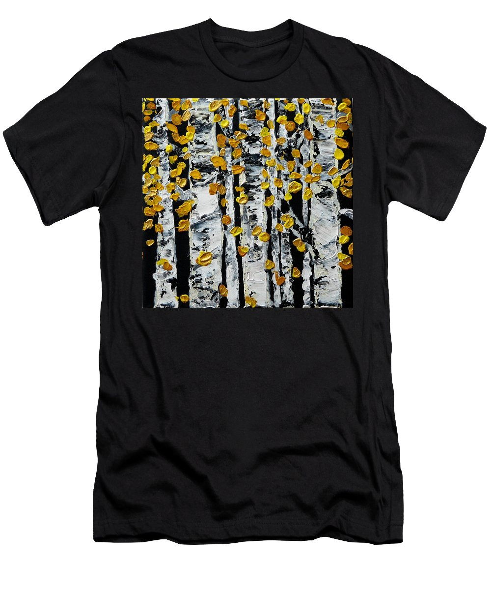 Birch Men's T-Shirt (Athletic Fit) featuring the painting Birch Study Fall by Valerie Ornstein