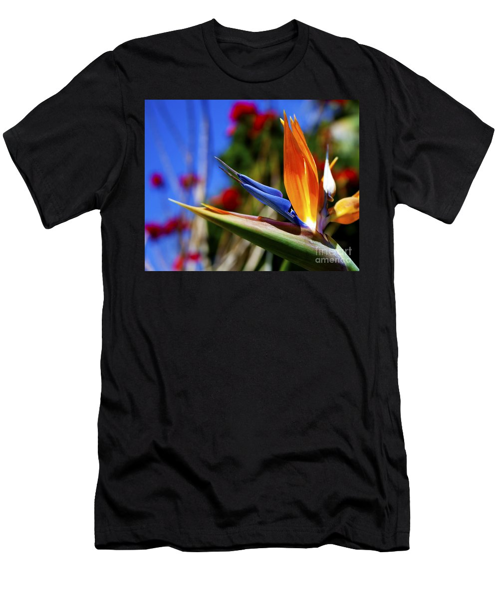 Colorful Bird Of Paradise Photographs Men's T-Shirt (Athletic Fit) featuring the photograph Bird Of Paradise Open For All To See by Jerry Cowart