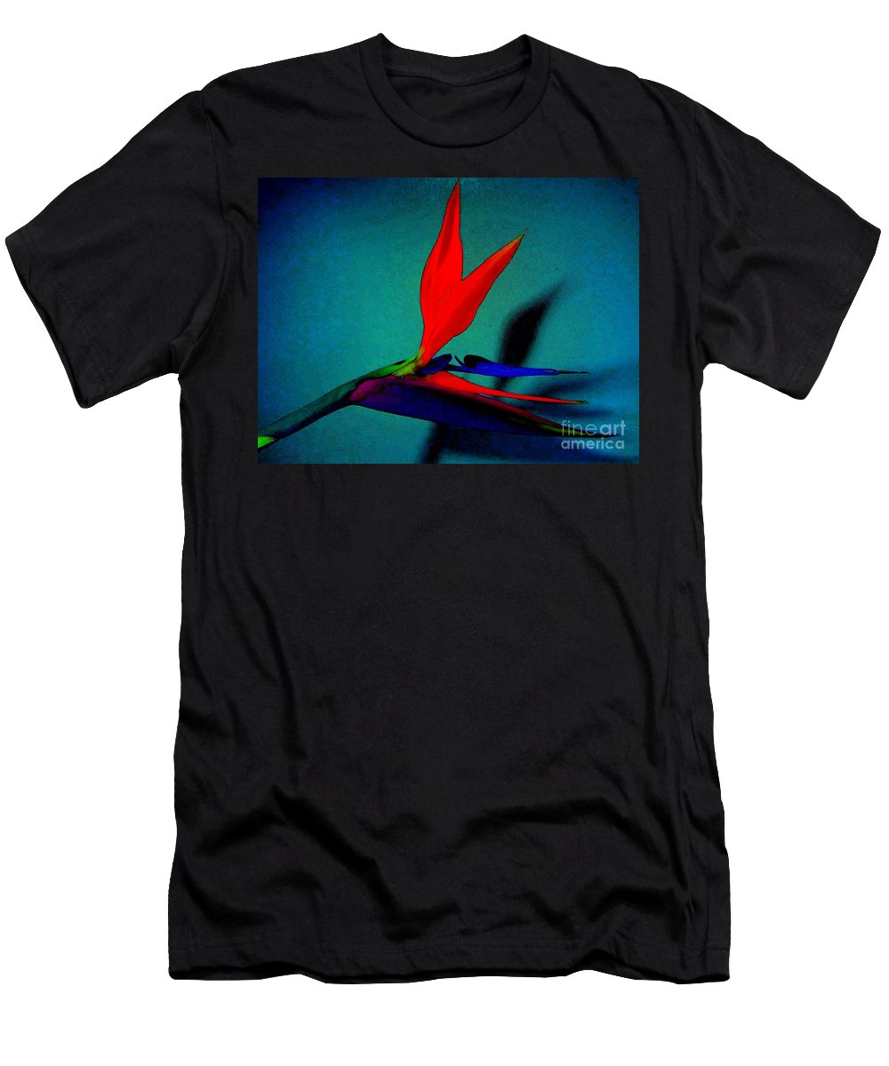 Flower Men's T-Shirt (Athletic Fit) featuring the photograph Bird Of Paradise With Blue Background by Susan Carella