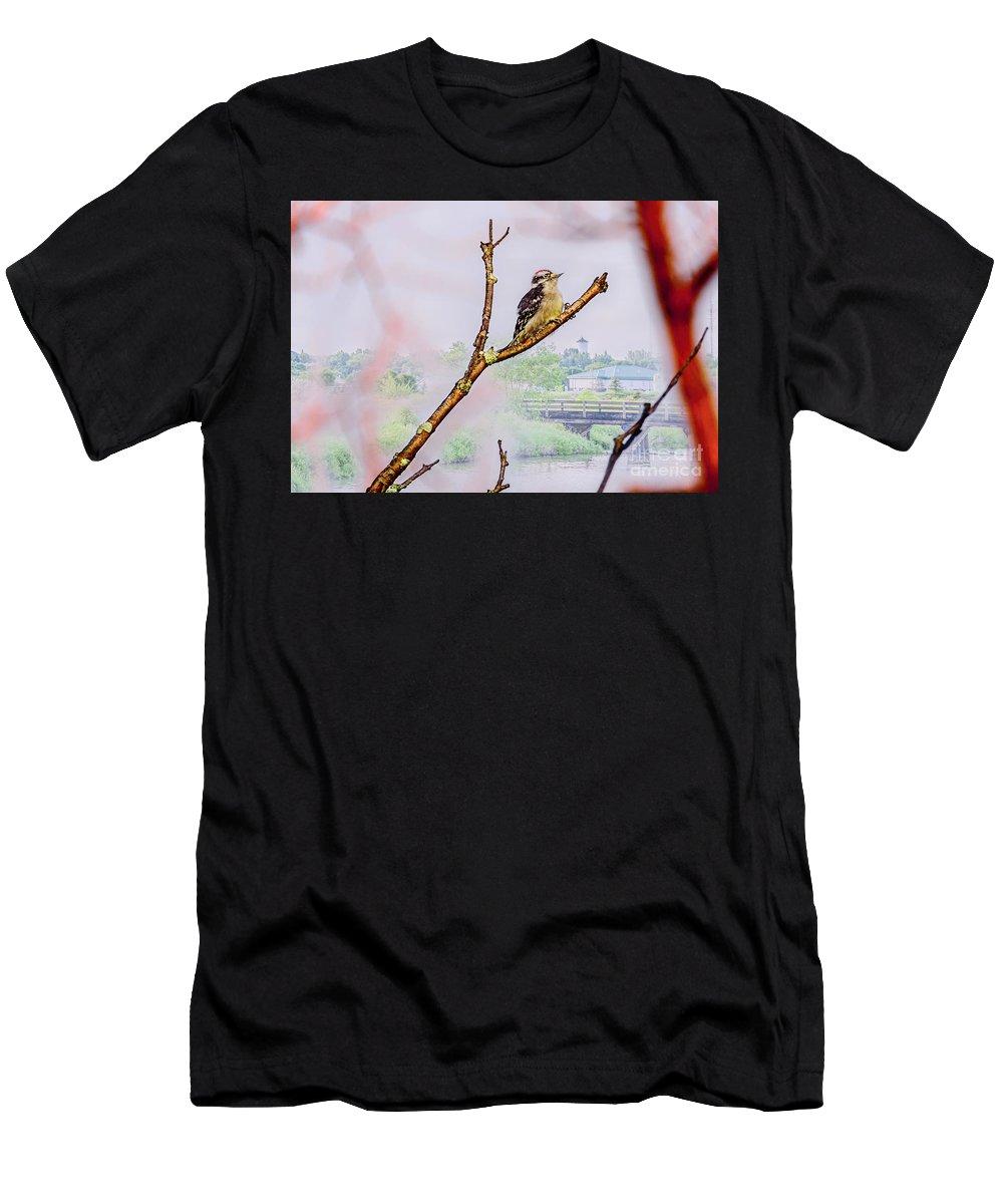 Bird Men's T-Shirt (Athletic Fit) featuring the photograph Bird On The Brunch by Viktor Birkus