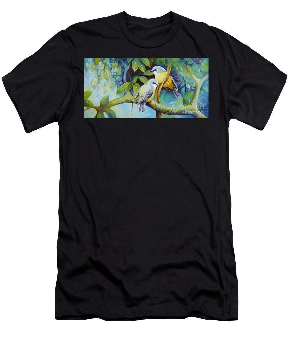 Birds Men's T-Shirt (Athletic Fit) featuring the painting Birds by Elena Oleniuc