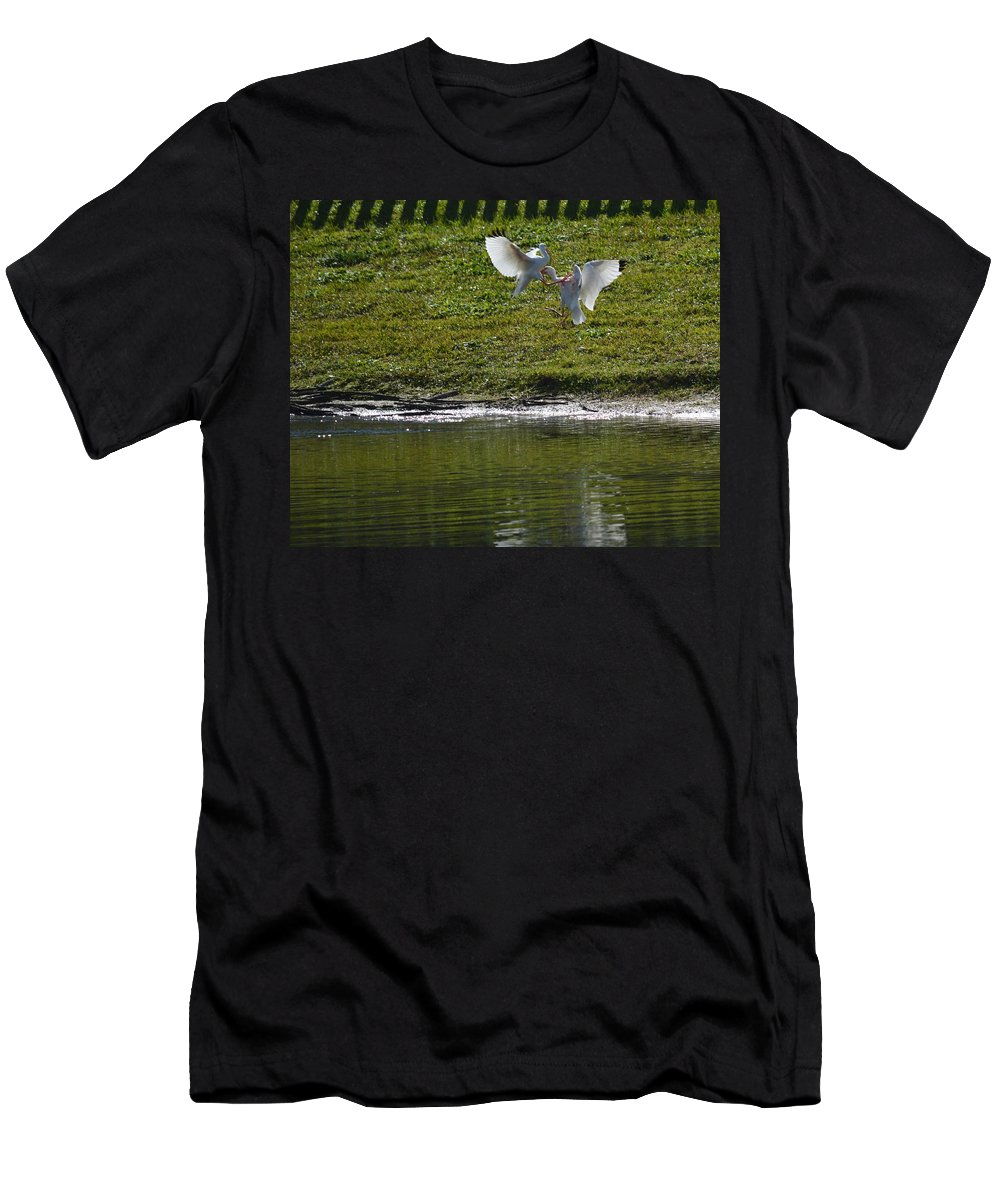 Bird Men's T-Shirt (Athletic Fit) featuring the photograph Birds In Fight by Linda Kerkau