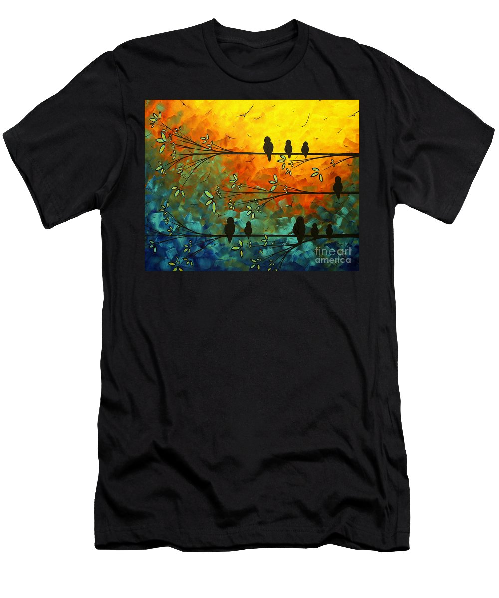 Painting Men's T-Shirt (Athletic Fit) featuring the painting Birds Of A Feather Original Whimsical Painting by Megan Duncanson