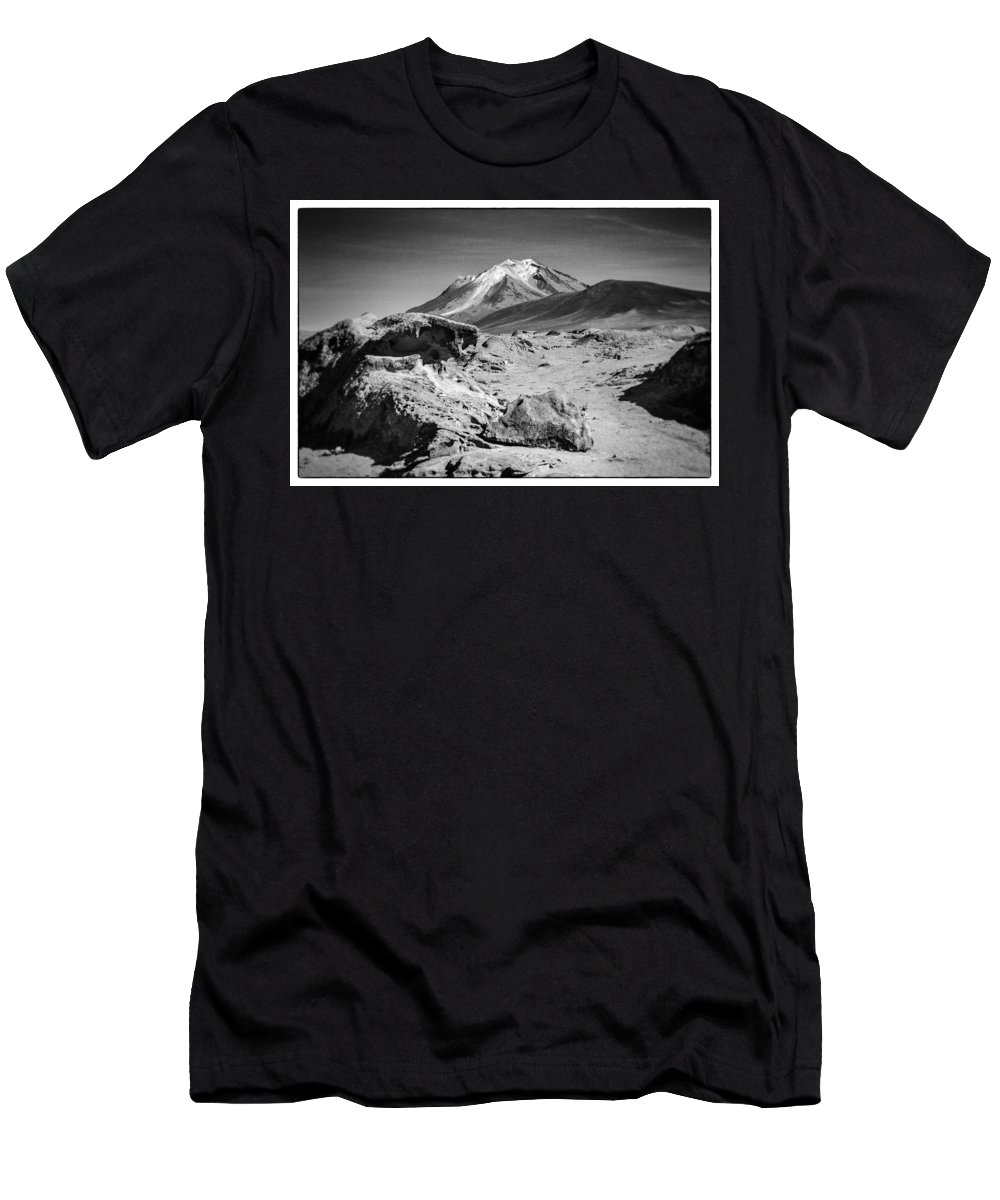 Desert Men's T-Shirt (Athletic Fit) featuring the photograph Bizarre Landscape Bolivia Black And White Select Focus by For Ninety One Days
