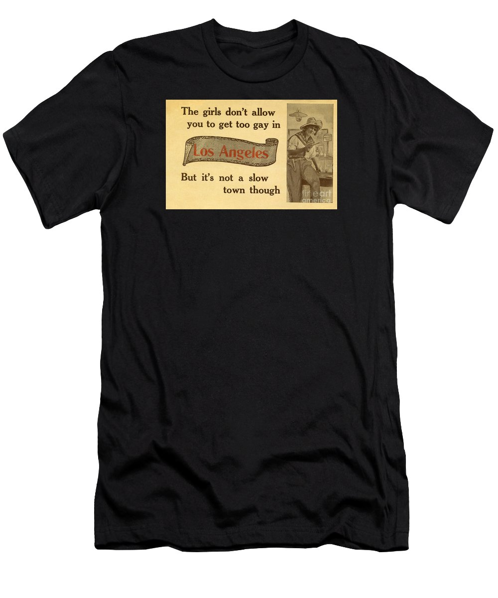 Vintage Men's T-Shirt (Athletic Fit) featuring the photograph Bizarre Los Angeles Postcard by Sad Hill - Bizarre Los Angeles Archive