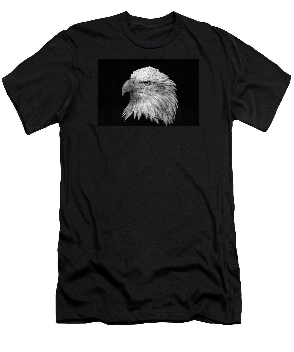 Black And White Eagle Men's T-Shirt (Athletic Fit) featuring the photograph Black And White Eagle by Wes and Dotty Weber
