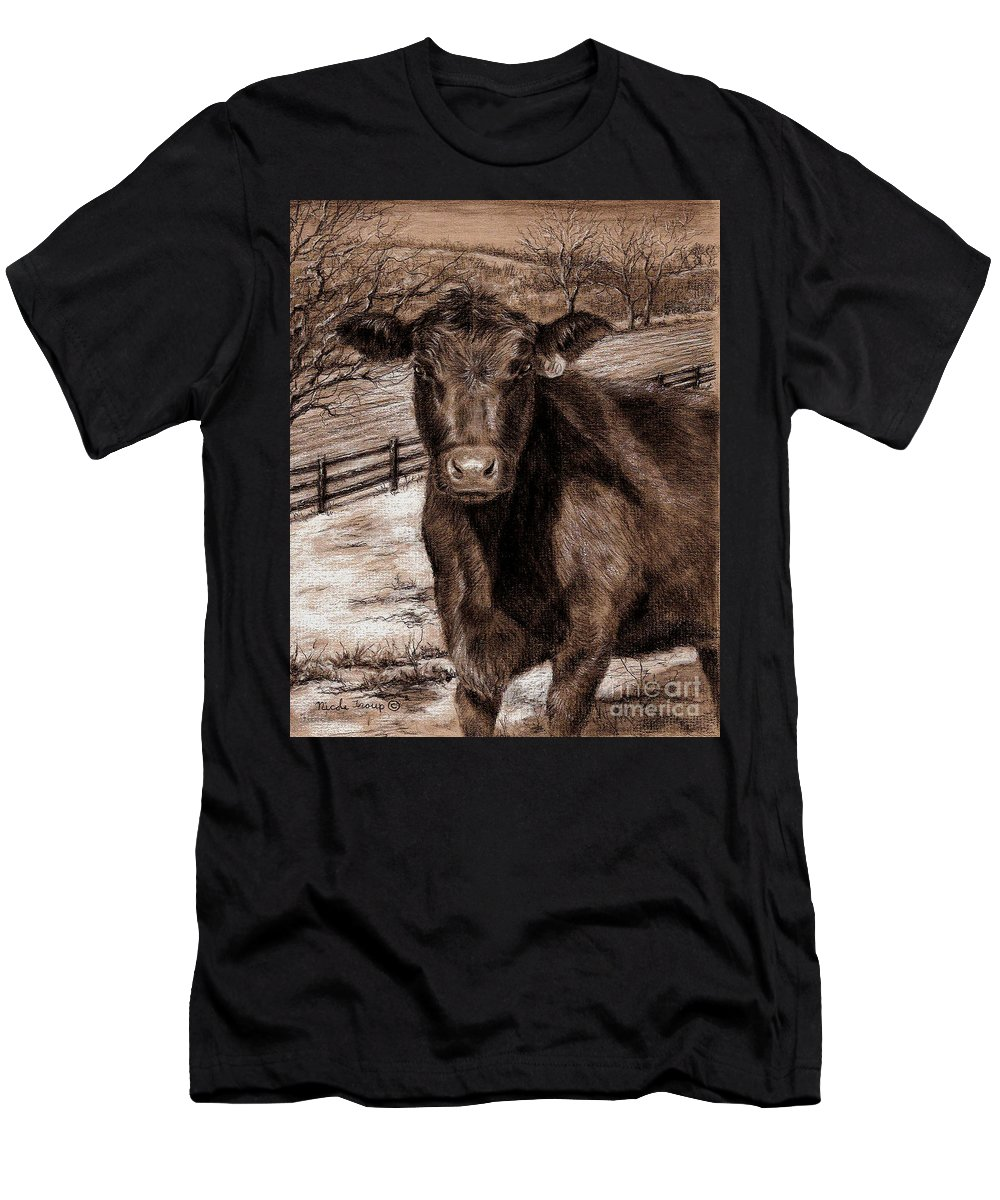 Black Angus Men's T-Shirt (Athletic Fit) featuring the drawing Black Angus In The Field by Nicole Troup