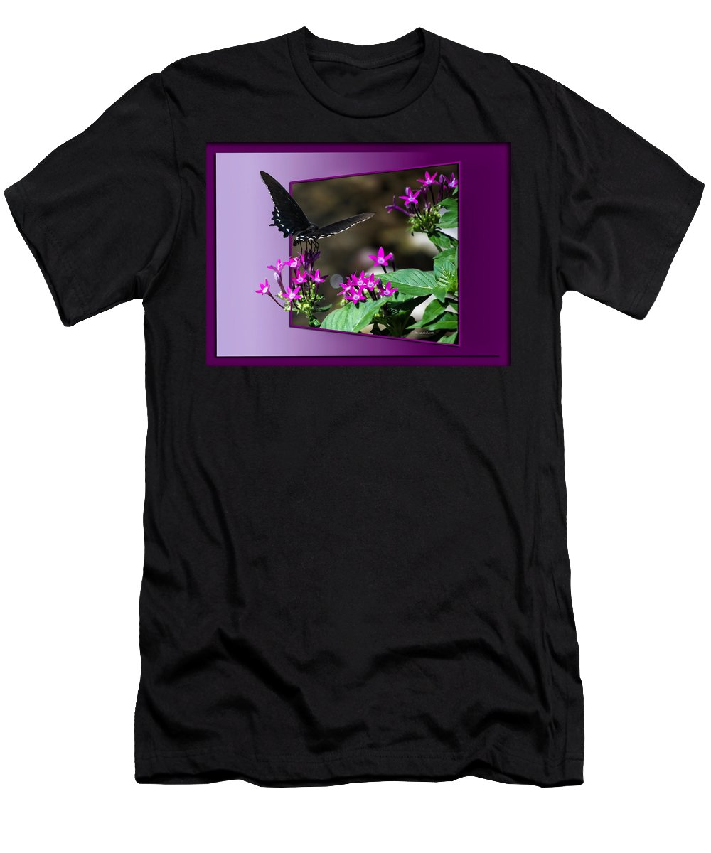 Butterfly Men's T-Shirt (Athletic Fit) featuring the photograph Black Butterfly 07 by Thomas Woolworth