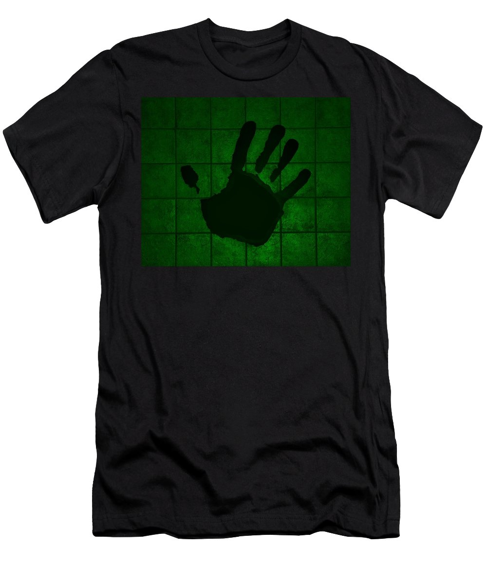 Hand Men's T-Shirt (Athletic Fit) featuring the photograph Black Hand Green by Rob Hans