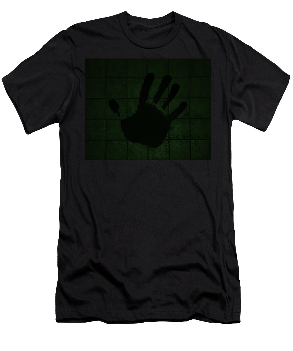 Hand Men's T-Shirt (Athletic Fit) featuring the photograph Black Hand Olive Green by Rob Hans