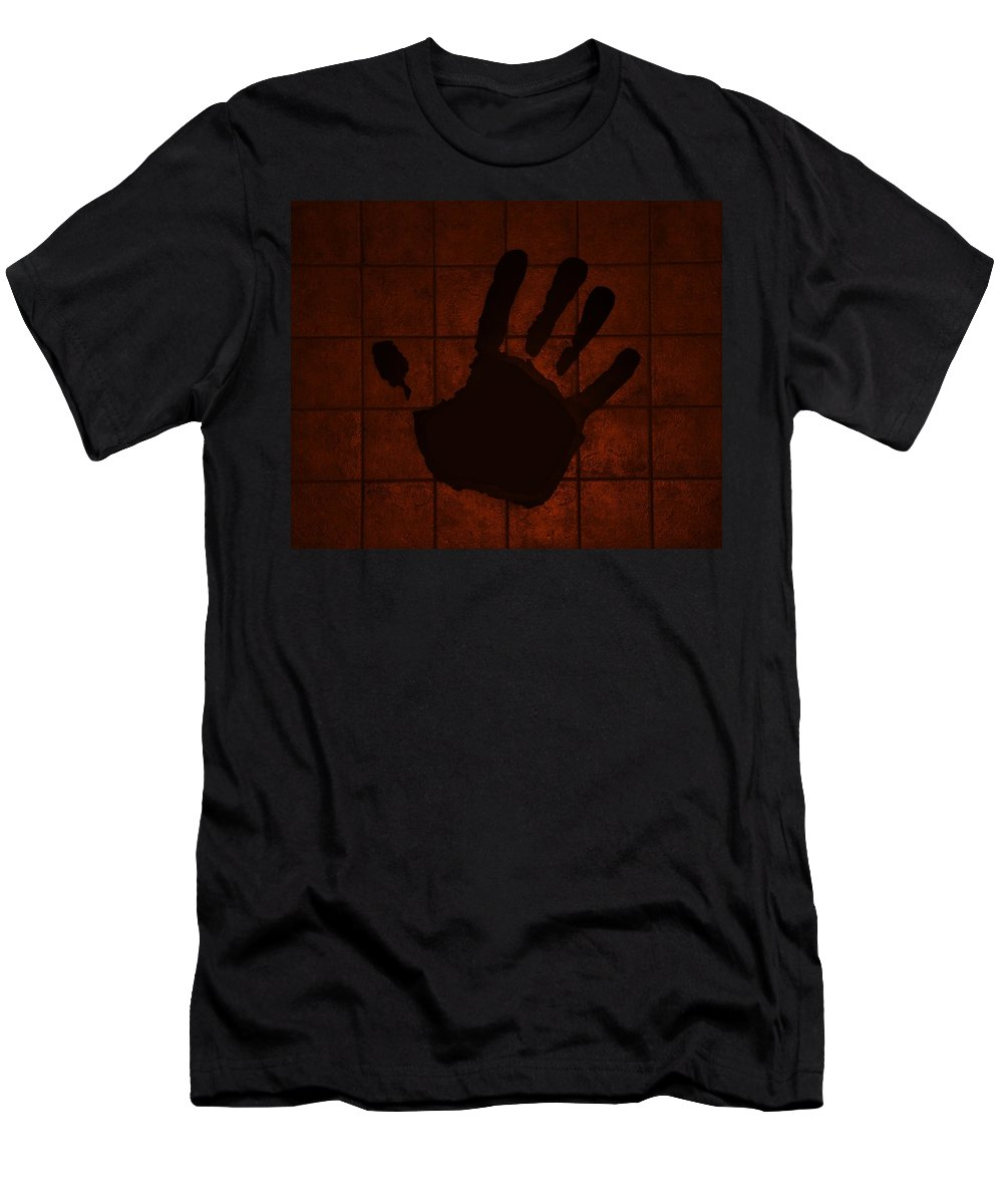 Hand Men's T-Shirt (Athletic Fit) featuring the photograph Black Hand Orange by Rob Hans