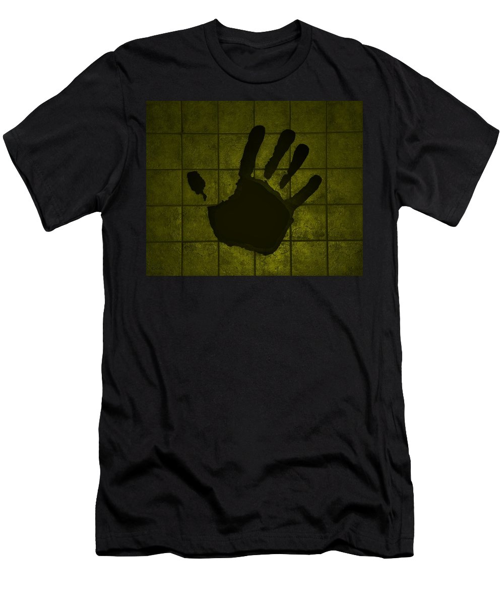 Hand Men's T-Shirt (Athletic Fit) featuring the photograph Black Hand Yellow by Rob Hans