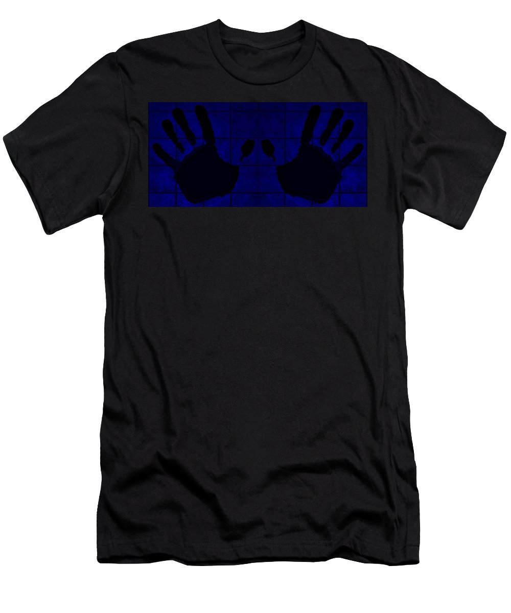 Hand Men's T-Shirt (Athletic Fit) featuring the photograph Black Hands Blue by Rob Hans