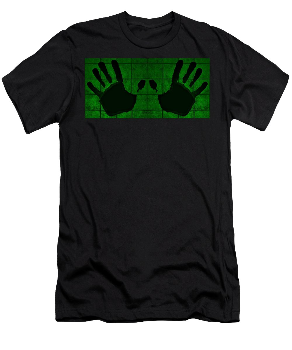 Hand Men's T-Shirt (Athletic Fit) featuring the photograph Black Hands Green by Rob Hans