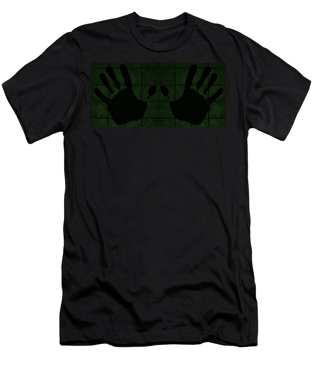 Hand Men's T-Shirt (Athletic Fit) featuring the photograph Black Hands Olive Green by Rob Hans