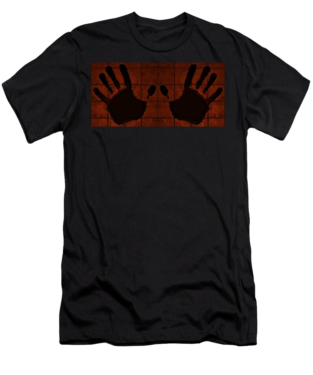 Hand Men's T-Shirt (Athletic Fit) featuring the photograph Black Hands Orange by Rob Hans