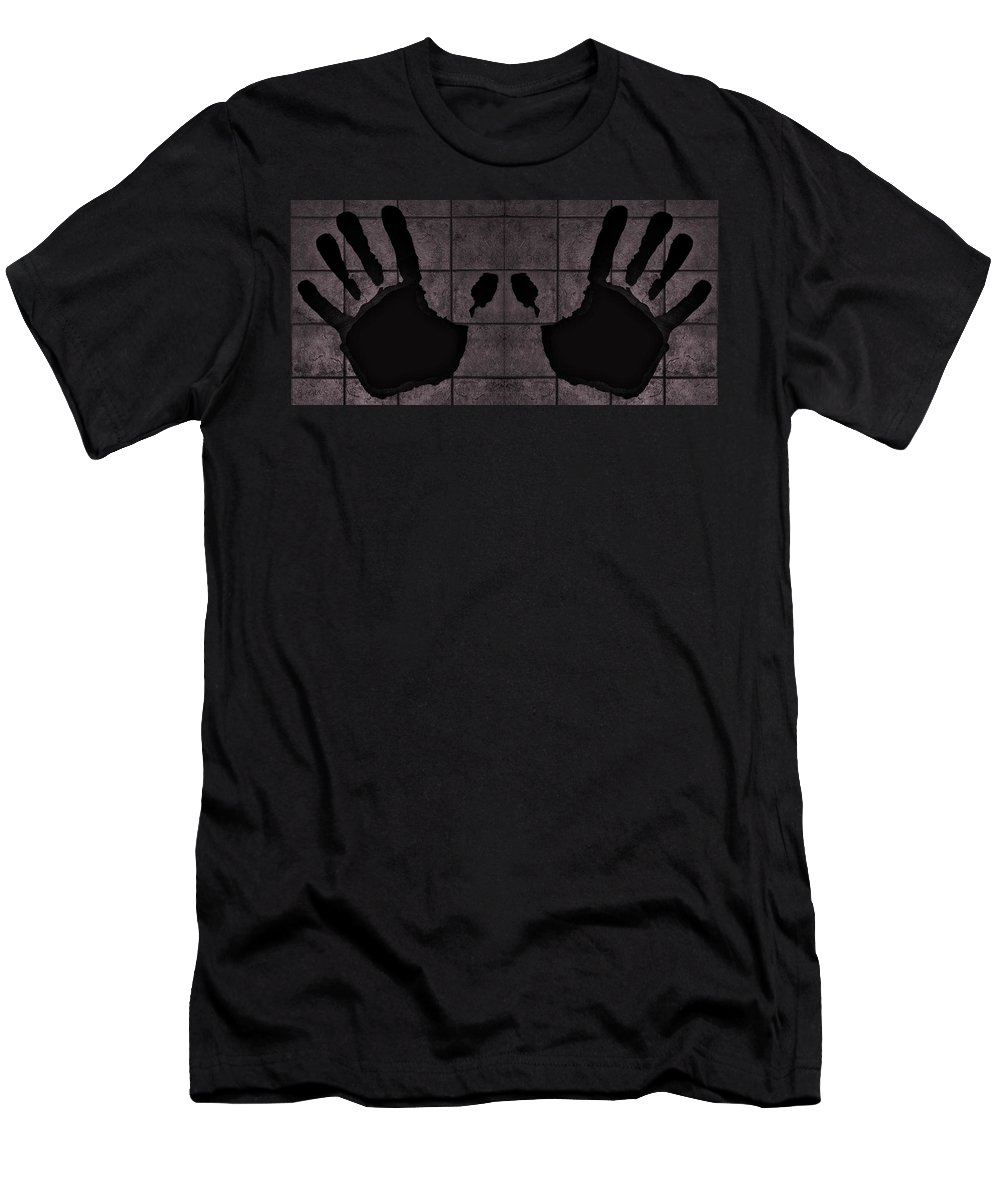 Hand Men's T-Shirt (Athletic Fit) featuring the photograph Black Hands Pink by Rob Hans