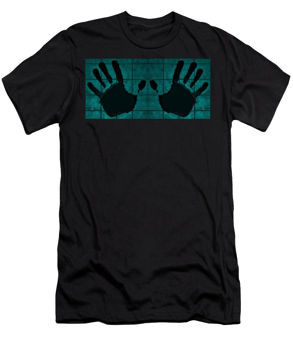 Hand Men's T-Shirt (Athletic Fit) featuring the photograph Black Hands Turquoise by Rob Hans