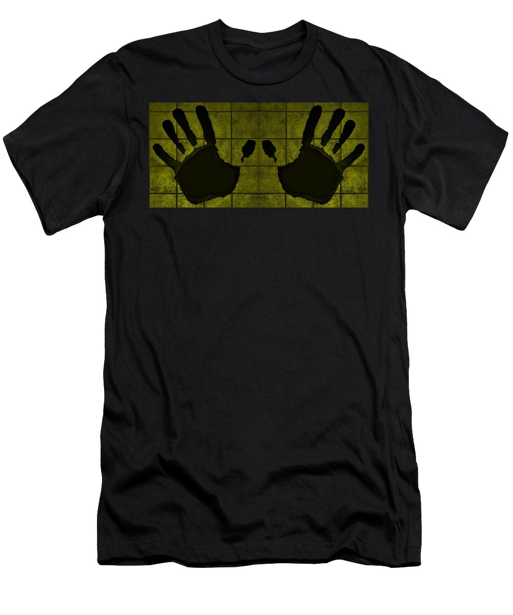 Hand Men's T-Shirt (Athletic Fit) featuring the photograph Black Hands Yellow by Rob Hans
