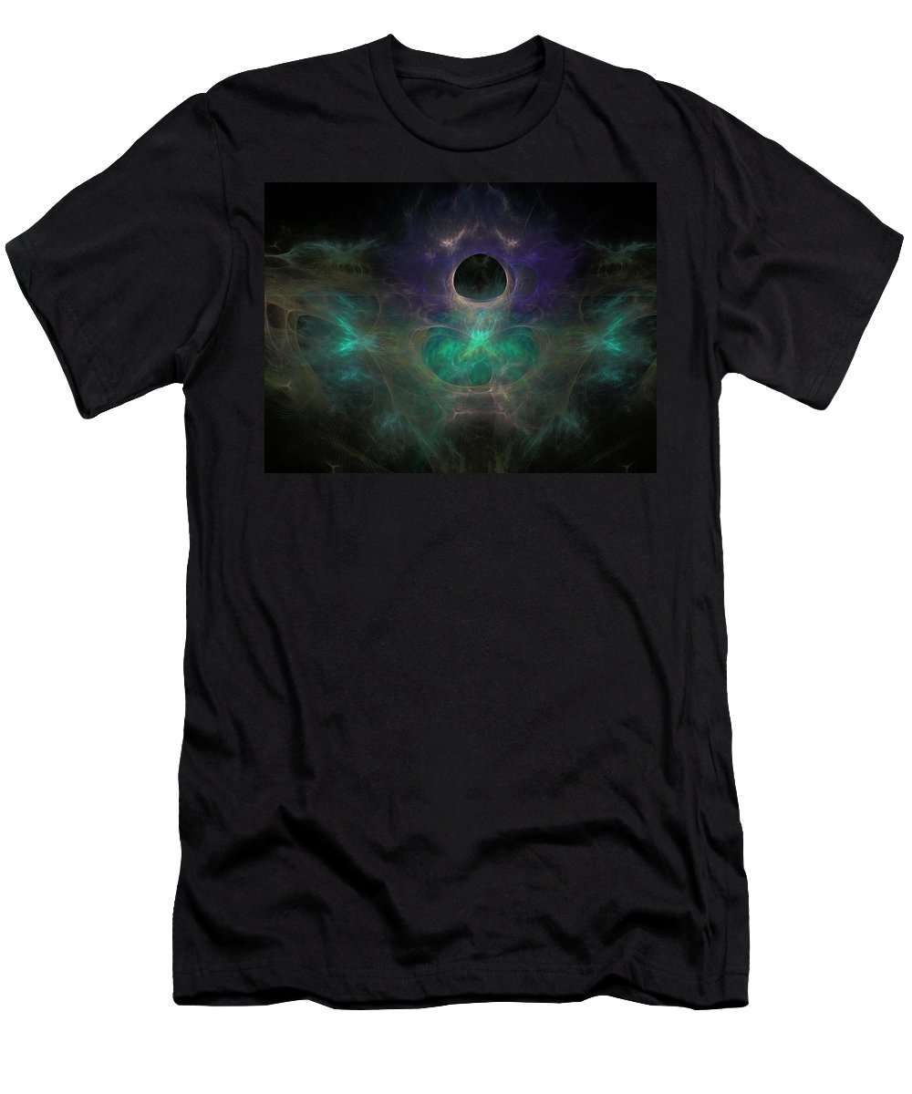 Fractal Men's T-Shirt (Athletic Fit) featuring the painting Black Hole by Bruce Nutting