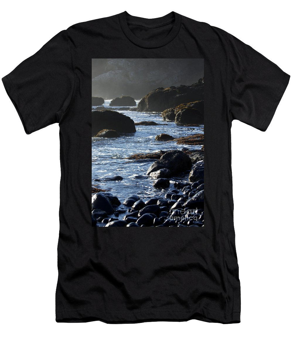 Black Rocks Men's T-Shirt (Athletic Fit) featuring the photograph Black Rocks And Sea by Belinda Greb
