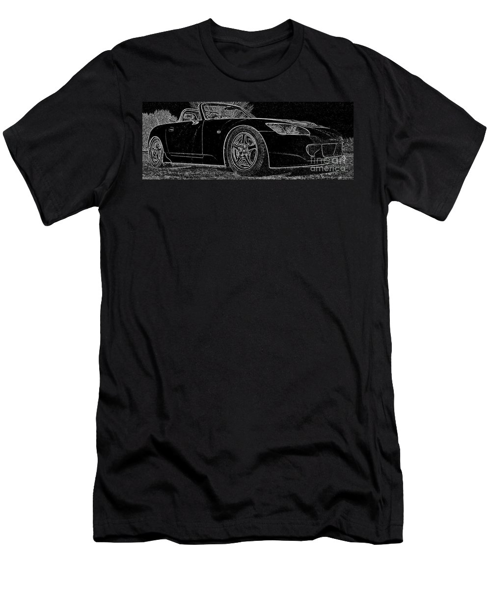 S2000 Men's T-Shirt (Athletic Fit) featuring the mixed media Black S2000 by Eric Liller