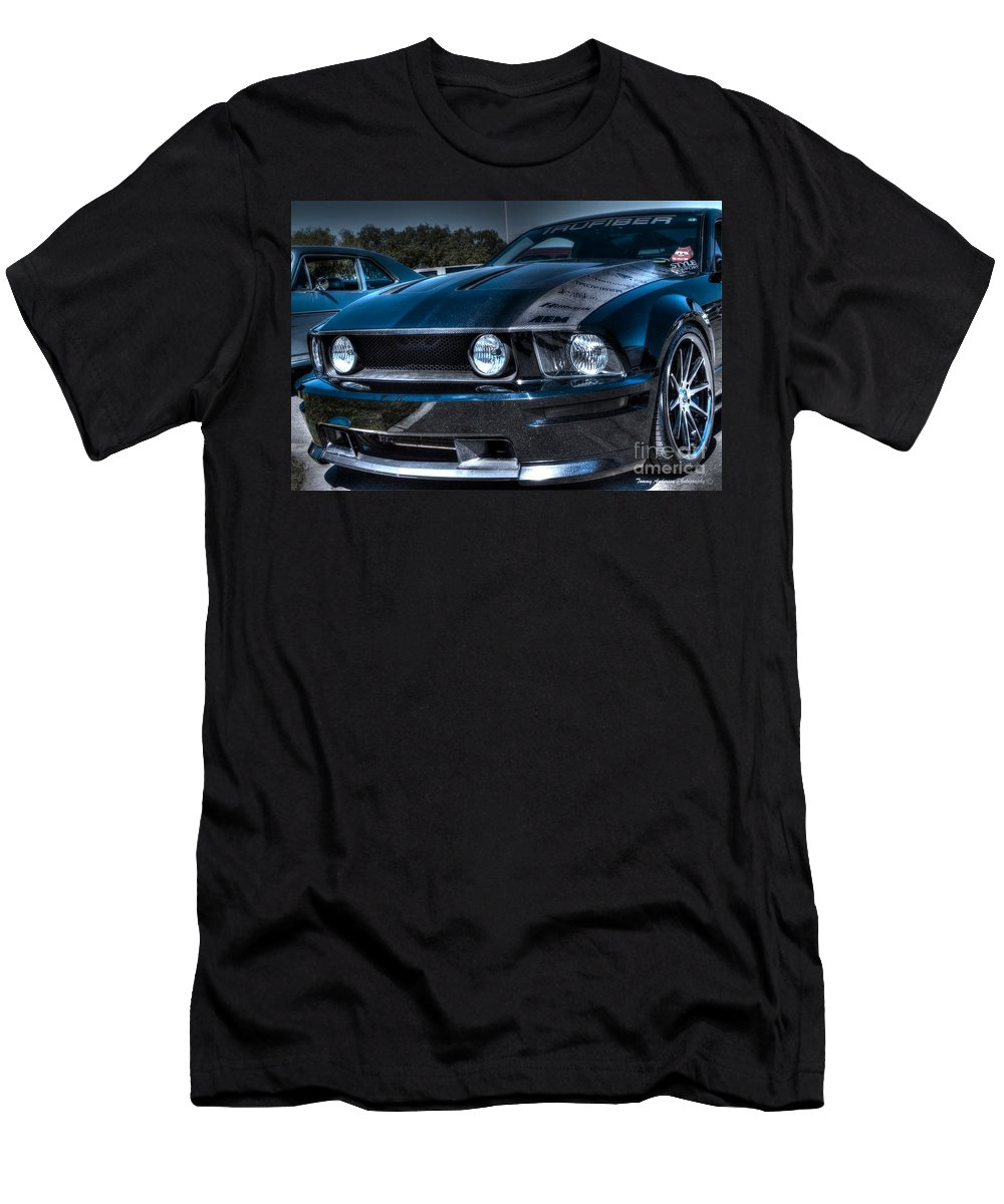 Truefiber Men's T-Shirt (Athletic Fit) featuring the photograph Black Truefiber Mustang by Tommy Anderson