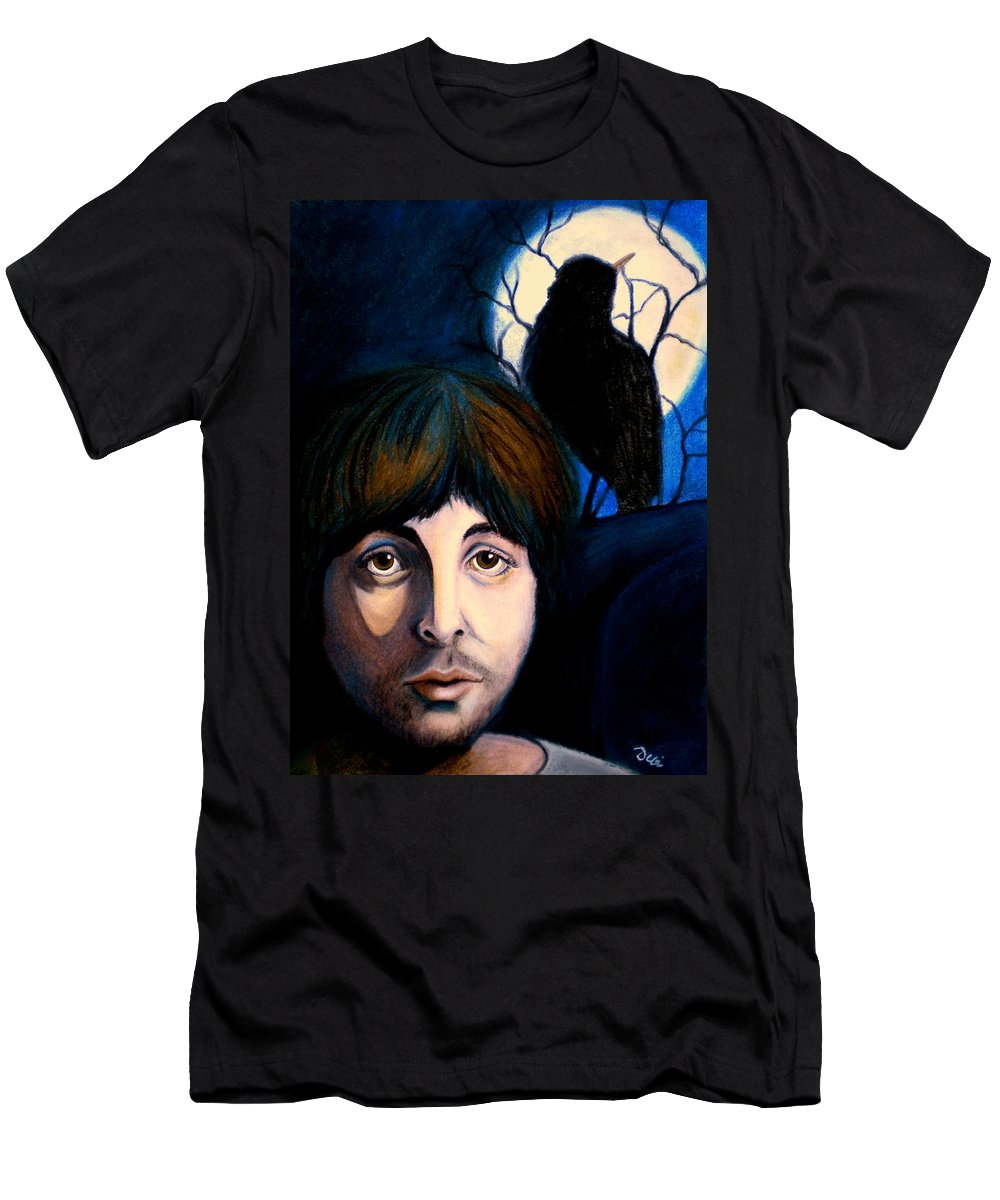 Paul Mccartney T-Shirt featuring the painting Blackbird by Debi Starr