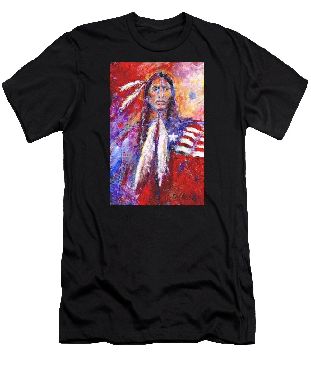 Native American Men's T-Shirt (Athletic Fit) featuring the painting Blackfeet by Barbara Lemley