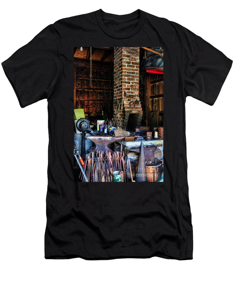 Paul Ward Men's T-Shirt (Athletic Fit) featuring the photograph Blacksmith - All The Tools by Paul Ward
