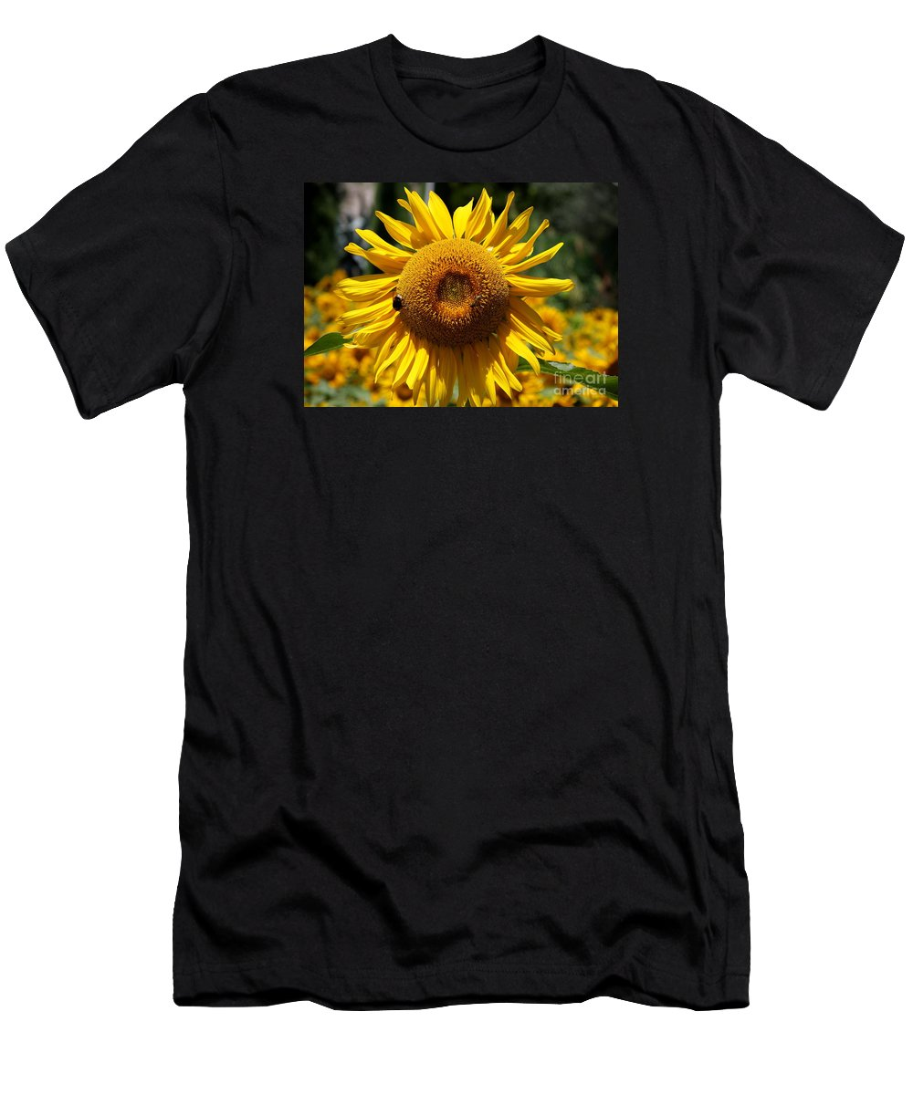 Yellow Sunflower Men's T-Shirt (Athletic Fit) featuring the photograph Blazing Yellow Sunflower by Christiane Schulze Art And Photography