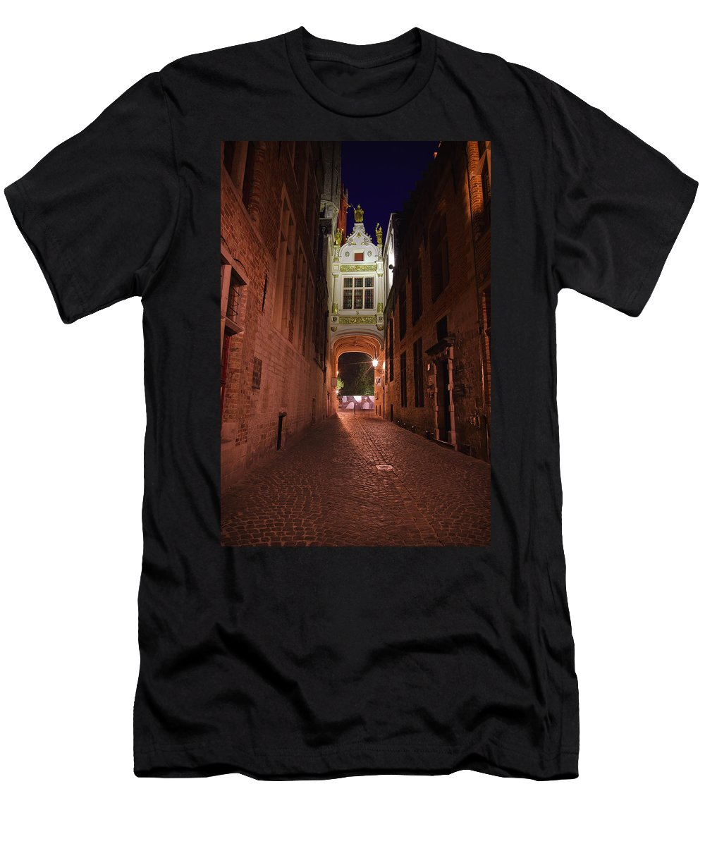 3scape Men's T-Shirt (Athletic Fit) featuring the photograph Blind Donkey Alley by Adam Romanowicz