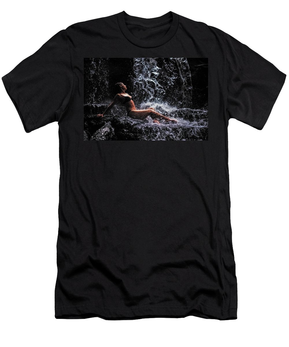 Mauritius Men's T-Shirt (Athletic Fit) featuring the photograph Bliss. Anna At Eureka Waterfalls. Mauritius by Jenny Rainbow