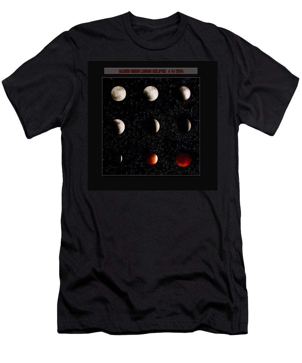 Moon Photography Men's T-Shirt (Athletic Fit) featuring the photograph Blood Moon Lunar Eclipse 2014 Color by La Rae Roberts