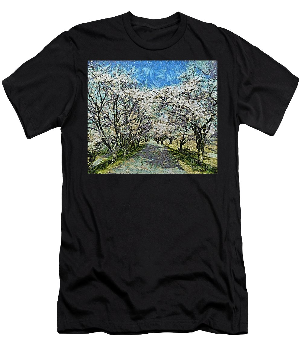 Spring Men's T-Shirt (Athletic Fit) featuring the painting Blooming Cherry Tree Avenue by Dragica Micki Fortuna
